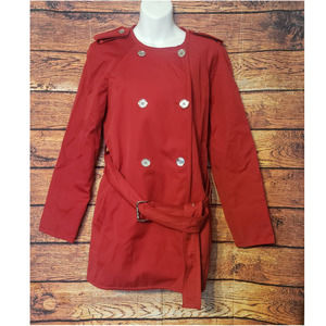 Michael Kors Double Breasted Red Trench Coat